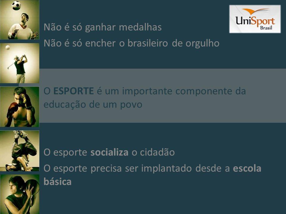Não é só ganhar medalhas Não é só encher o brasileiro de orgulho O ESPORTE é um importante componente da educação de um povo O esporte socializa o cid