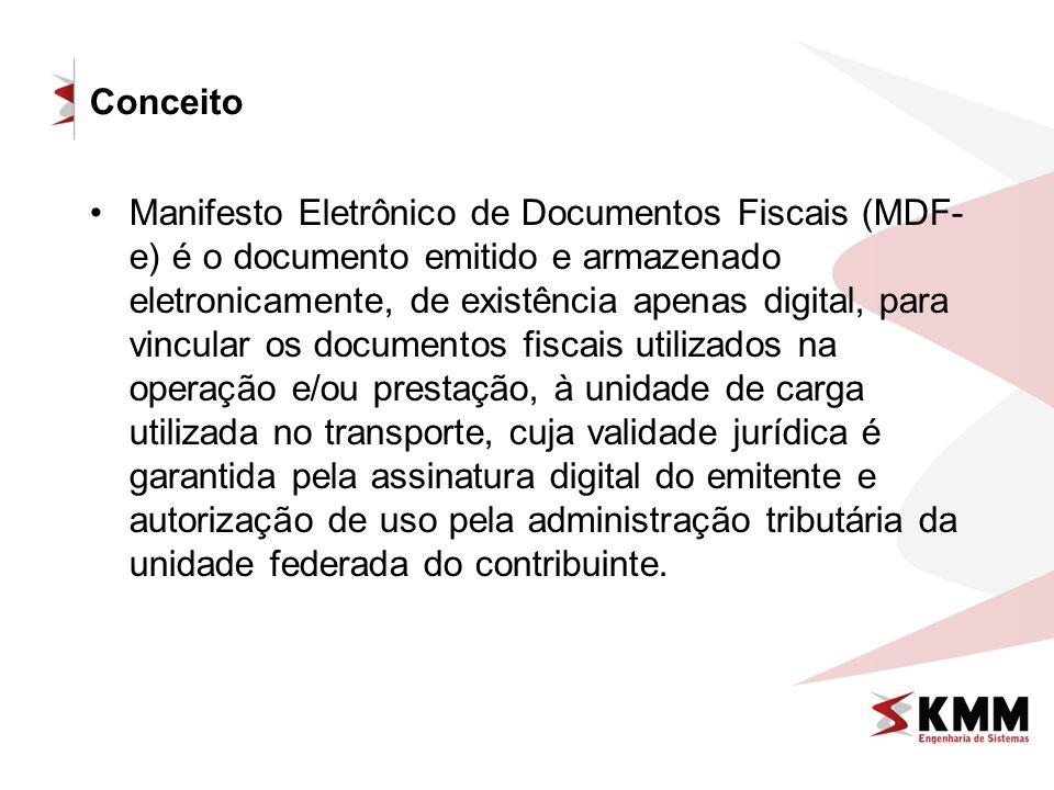 Conceito Manifesto Eletrônico de Documentos Fiscais (MDF- e) é o documento emitido e armazenado eletronicamente, de existência apenas digital, para vi