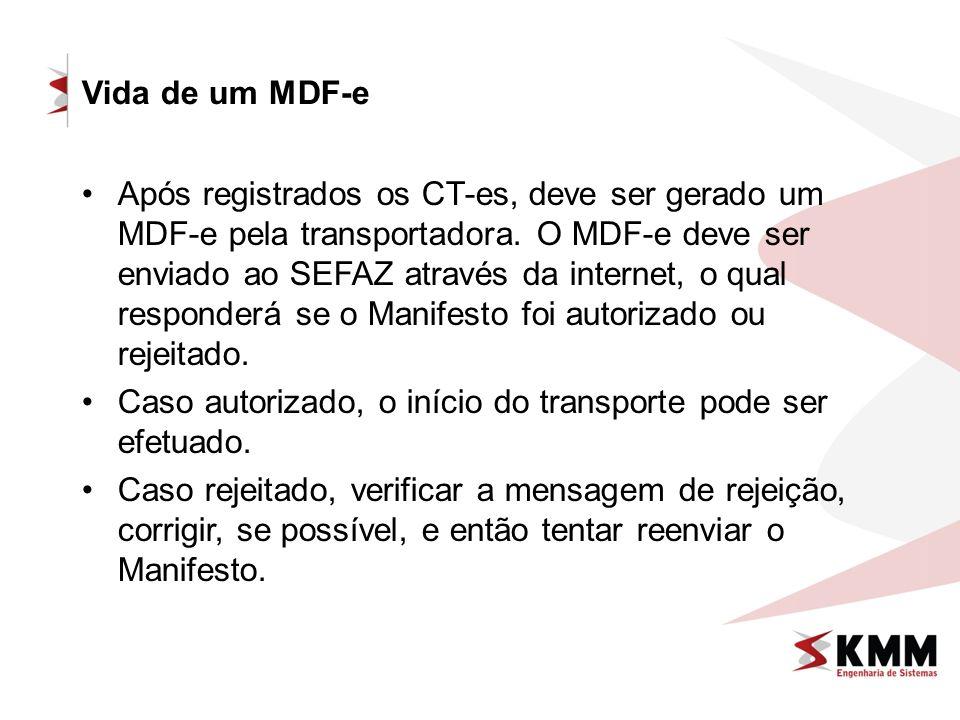 Vida de um MDF-e Após registrados os CT-es, deve ser gerado um MDF-e pela transportadora. O MDF-e deve ser enviado ao SEFAZ através da internet, o qua