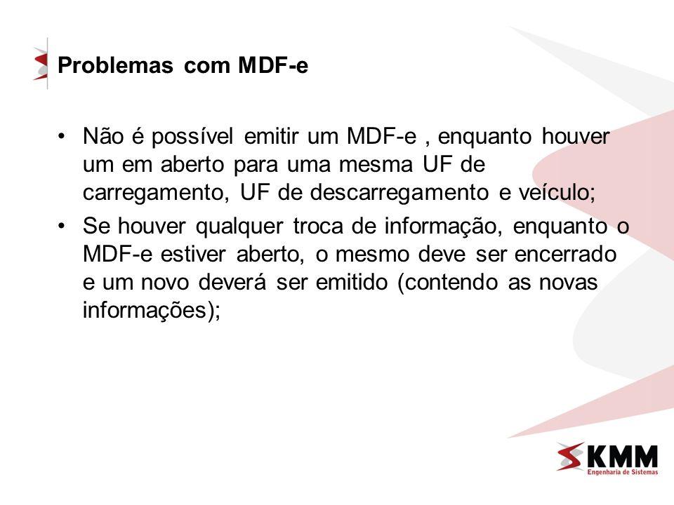 Problemas com MDF-e Não é possível emitir um MDF-e, enquanto houver um em aberto para uma mesma UF de carregamento, UF de descarregamento e veículo; S