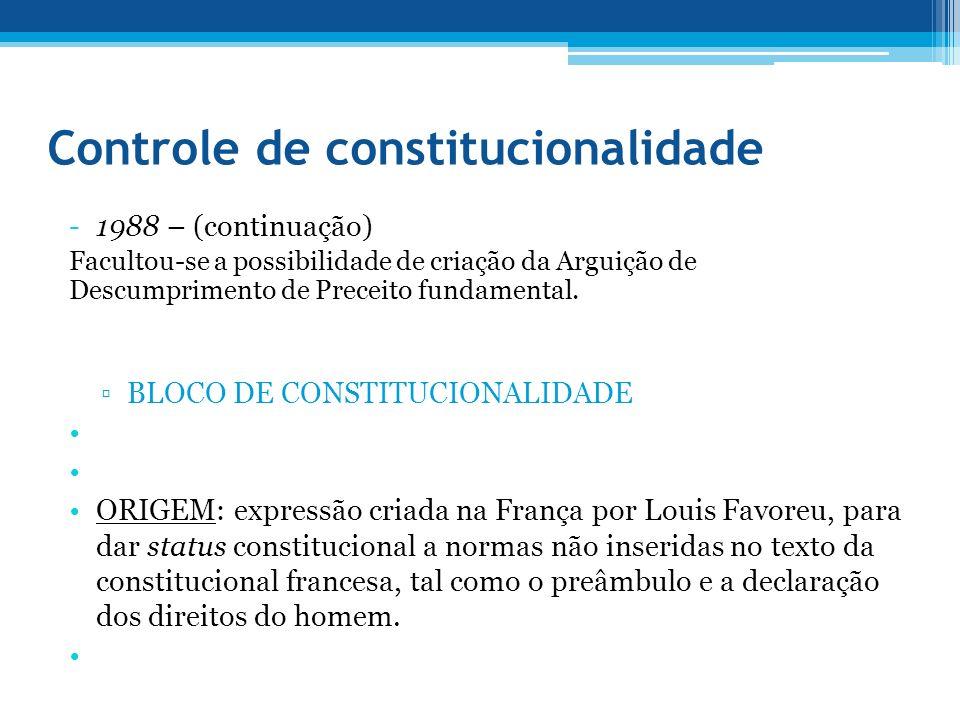 Controle de constitucionalidade -1988 – (continuação) Facultou-se a possibilidade de criação da Arguição de Descumprimento de Preceito fundamental. BL