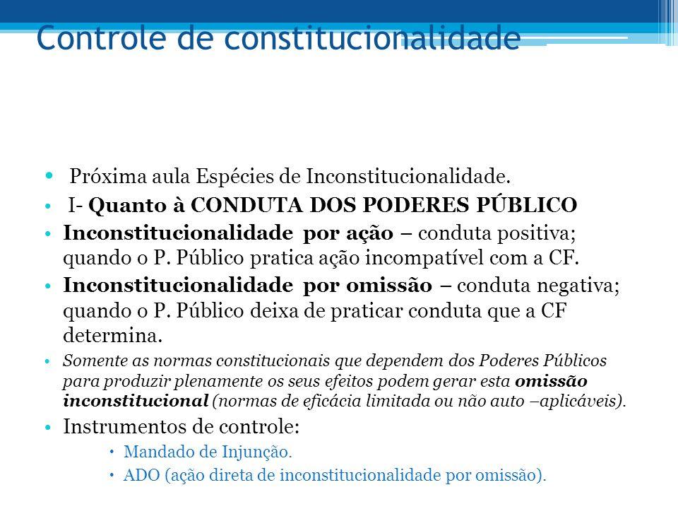 Controle de constitucionalidade Próxima aula Espécies de Inconstitucionalidade. I- Quanto à CONDUTA DOS PODERES PÚBLICO Inconstitucionalidade por ação