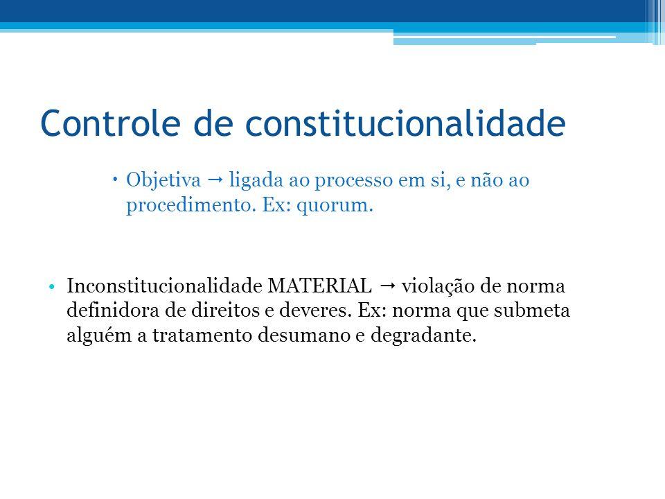 Controle de constitucionalidade Objetiva ligada ao processo em si, e não ao procedimento. Ex: quorum. Inconstitucionalidade MATERIAL violação de norma