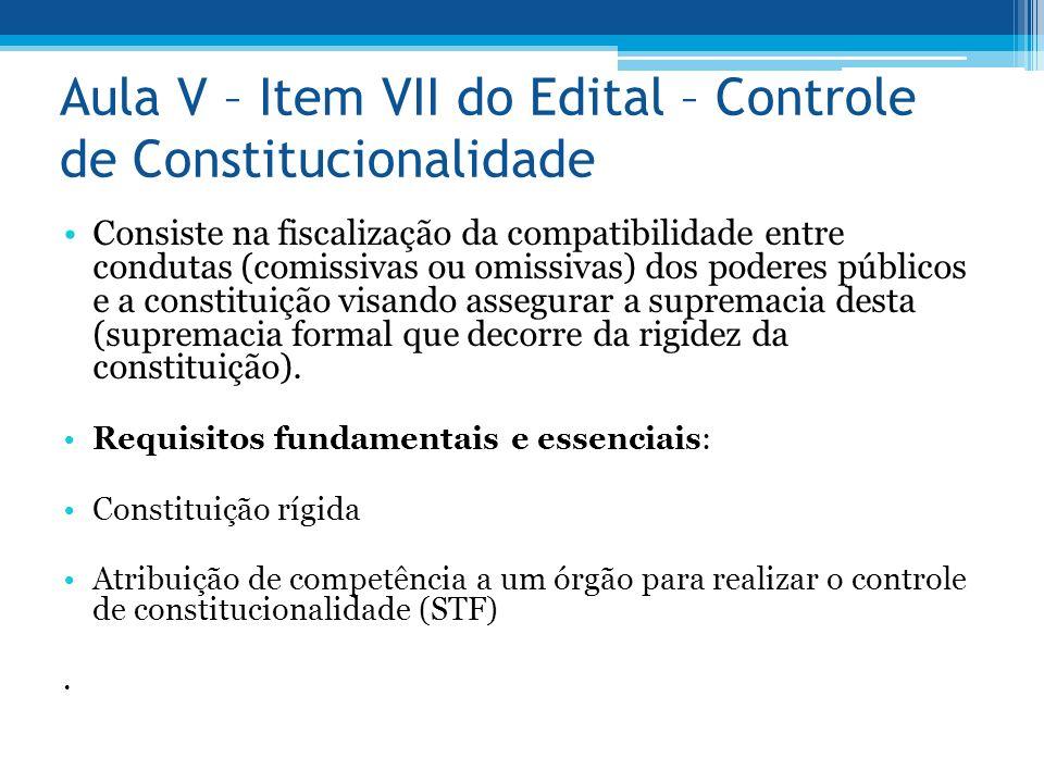 Aula V – Item VII do Edital – Controle de Constitucionalidade Consiste na fiscalização da compatibilidade entre condutas (comissivas ou omissivas) dos