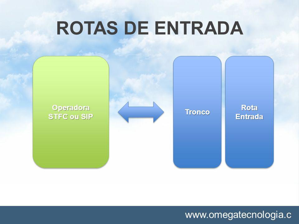 www.omegatecnologia.c om ROTAS DE ENTRADA TroncoTroncoRotaEntradaRotaEntradaOperadora STFC ou SIP Operadora