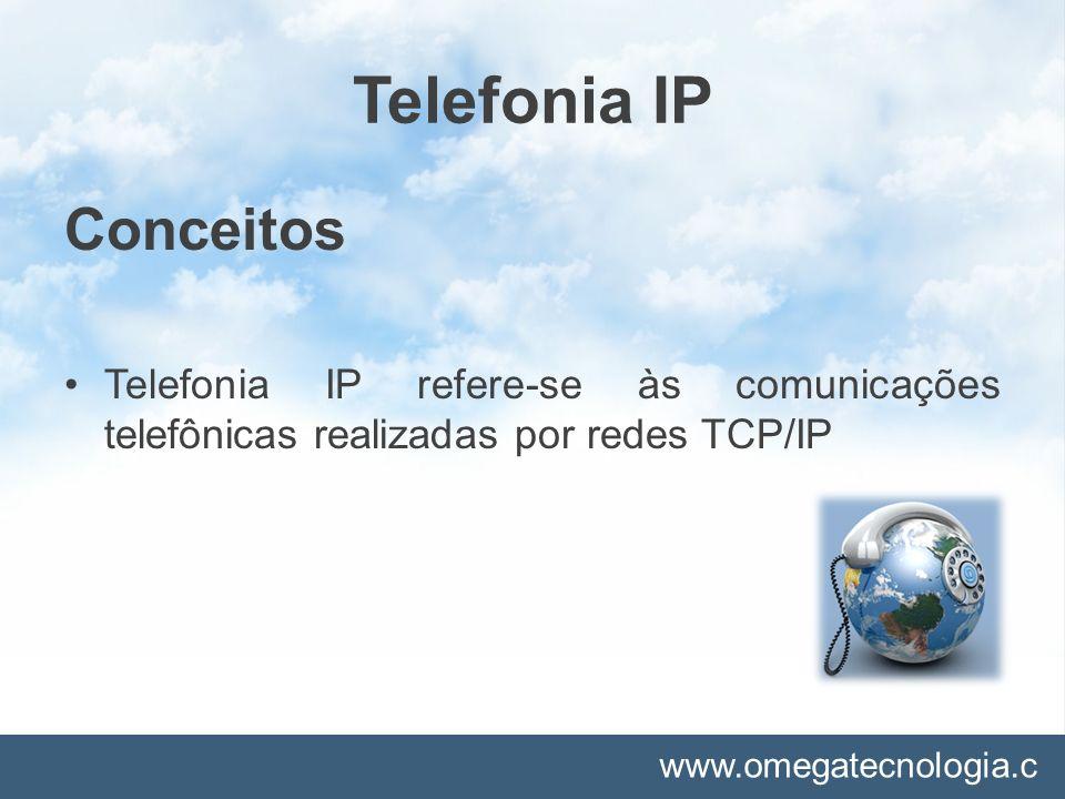 www.omegatecnologia.c om Telefonia IP Como funciona a telefonia IP A telefonia IP combina voz, vídeo e dados usando o TCP/IP como um transporte comum, reunindo de forma eficiente esses canais separados em um só.