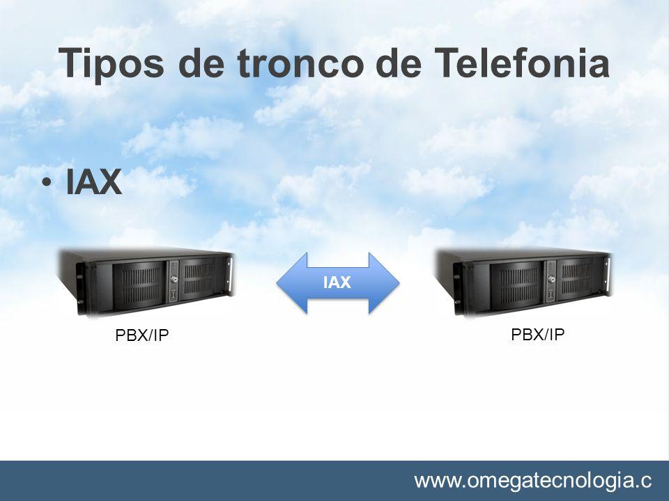 www.omegatecnologia.c om Tipos de tronco de Telefonia ANALOGICO PBX/I P Operadora Telefonia Fixa/Móvel