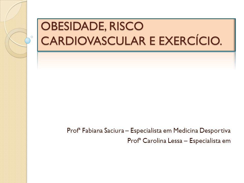 OBESIDADE, RISCO CARDIOVASCULAR E EXERCÍCIO. Profª Fabiana Saciura – Especialista em Medicina Desportiva Profª Carolina Lessa – Especialista em