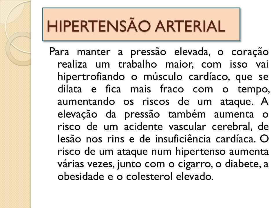 HIPERTENSÃO ARTERIAL Para manter a pressão elevada, o coração realiza um trabalho maior, com isso vai hipertrofiando o músculo cardíaco, que se dilata