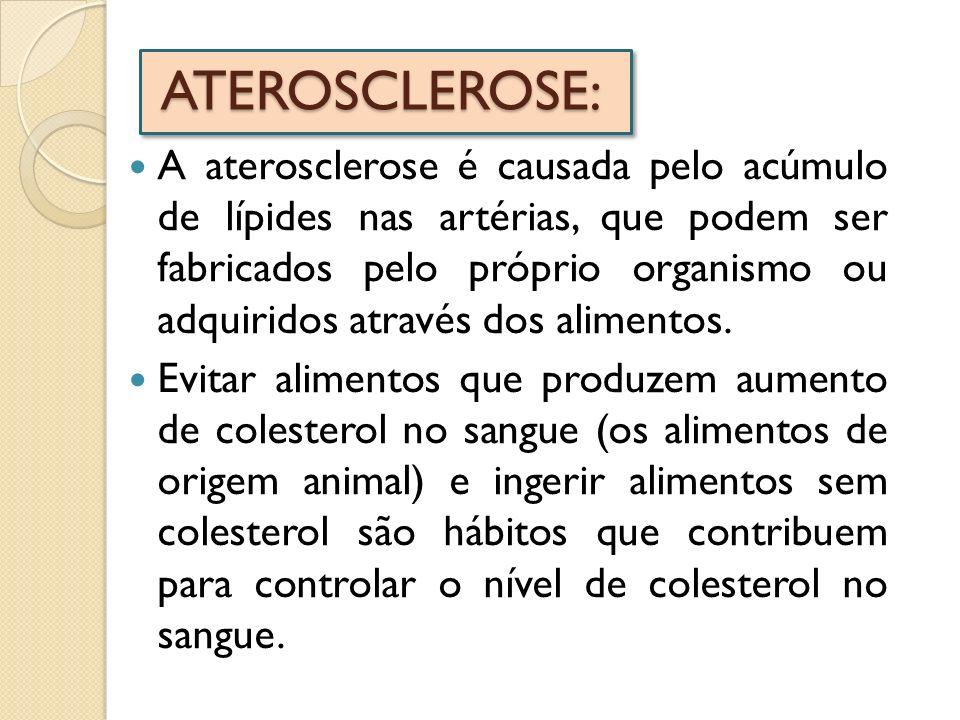 ATEROSCLEROSE: A aterosclerose é causada pelo acúmulo de lípides nas artérias, que podem ser fabricados pelo próprio organismo ou adquiridos através d