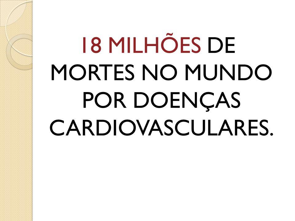 18 MILHÕES DE MORTES NO MUNDO POR DOENÇAS CARDIOVASCULARES.