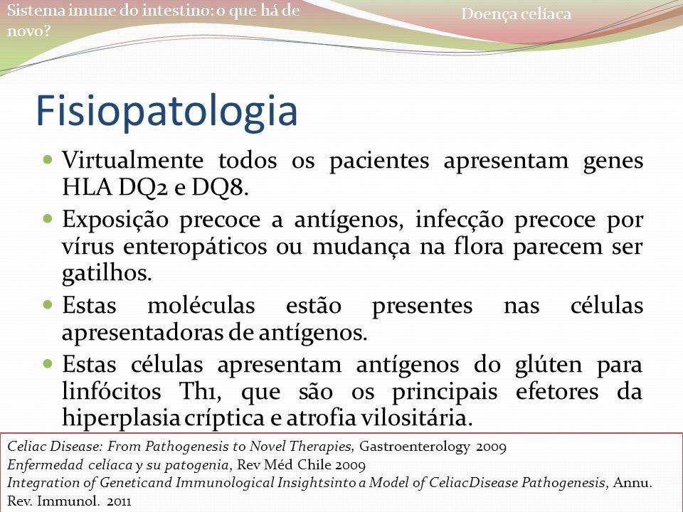 Sistema imune do intestino: o que há de novo? Fisiopatologia Virtualmente todos os pacientes apresentam genes HLA DQ2 e DQ8. Exposição precoce a antíg