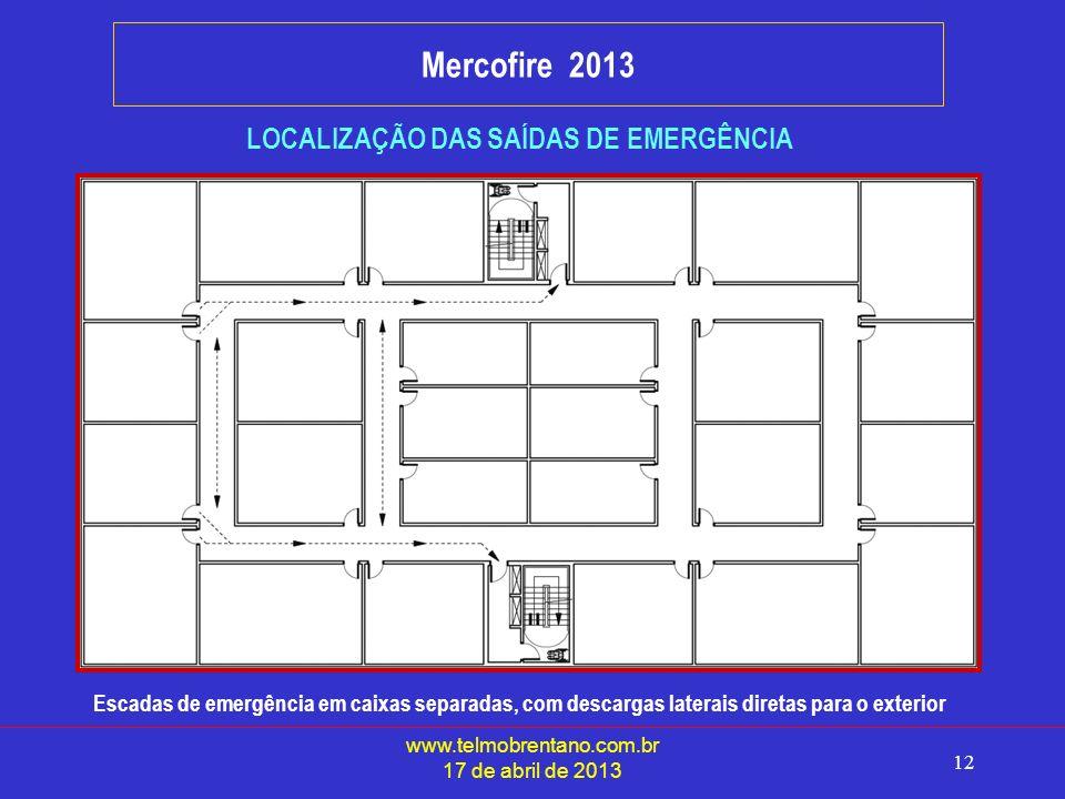 www.telmobrentano.com.br 17 de abril de 2013 12 Mercofire 2013 LOCALIZAÇÃO DAS SAÍDAS DE EMERGÊNCIA Escadas de emergência em caixas separadas, com descargas laterais diretas para o exterior