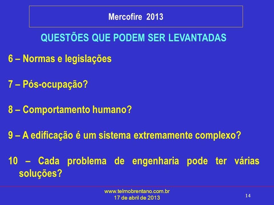 www.telmobrentano.com.br 17 de abril de 2013 14 Mercofire 2013 QUESTÕES QUE PODEM SER LEVANTADAS 6 – Normas e legislações 7 – Pós-ocupação.