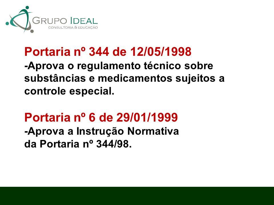 Portaria nº 344 de 12/05/1998 -Aprova o regulamento técnico sobre substâncias e medicamentos sujeitos a controle especial. Portaria nº 6 de 29/01/1999