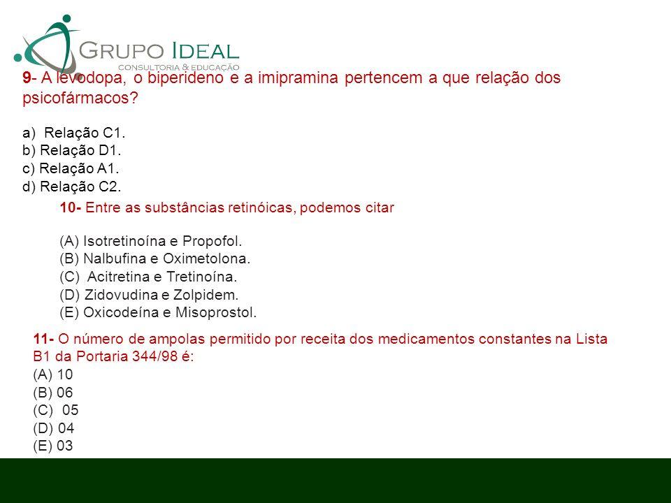 9- A levodopa, o biperideno e a imipramina pertencem a que relação dos psicofármacos? a) Relação C1. b) Relação D1. c) Relação A1. d) Relação C2. 10-