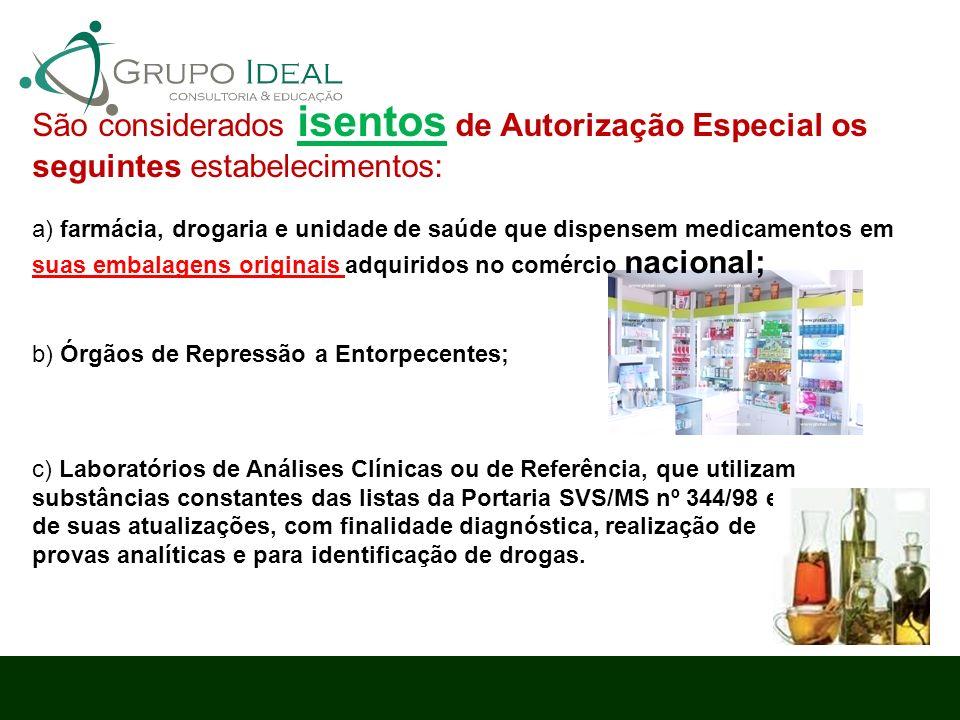 São considerados isentos de Autorização Especial os seguintes estabelecimentos: a) farmácia, drogaria e unidade de saúde que dispensem medicamentos em