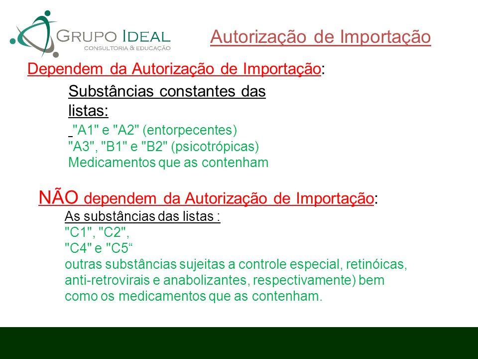 Autorização de Importação Dependem da Autorização de Importação: Substâncias constantes das listas: