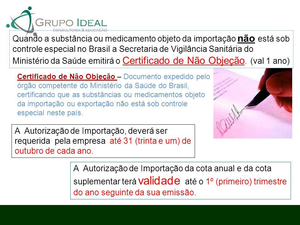 Quando a substância ou medicamento objeto da importação não está sob controle especial no Brasil a Secretaria de Vigilância Sanitária do Ministério da