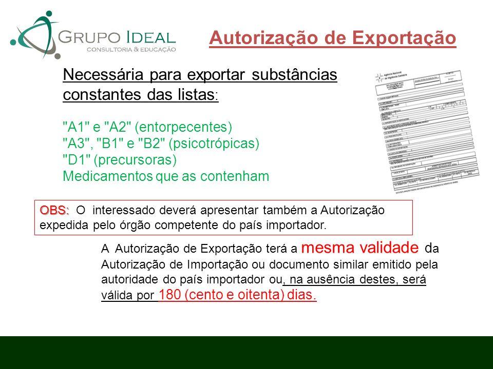 Autorização de Exportação Necessária para exportar substâncias constantes das listas :