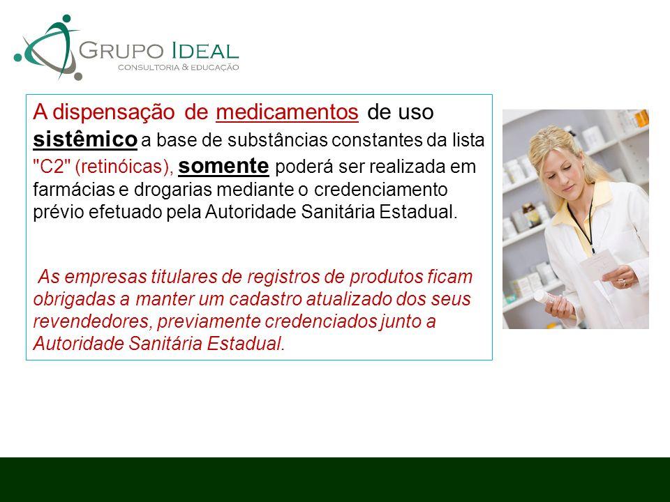 A dispensação de medicamentos de uso sistêmico a base de substâncias constantes da lista