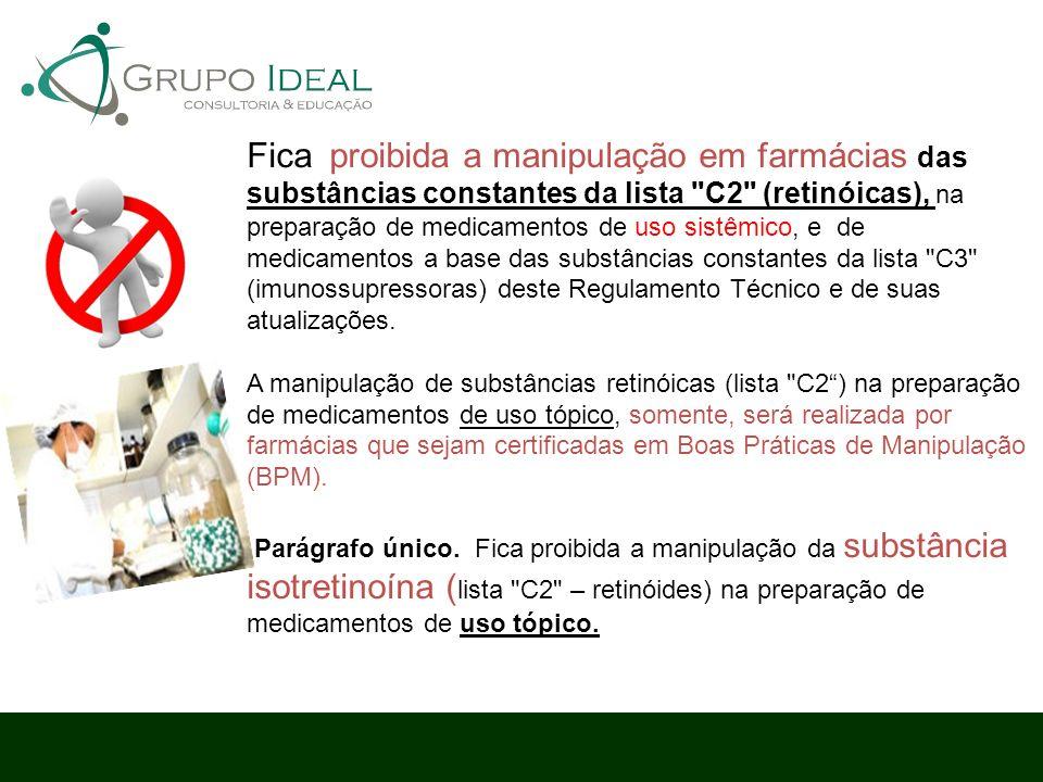 Fica proibida a manipulação em farmácias das substâncias constantes da lista