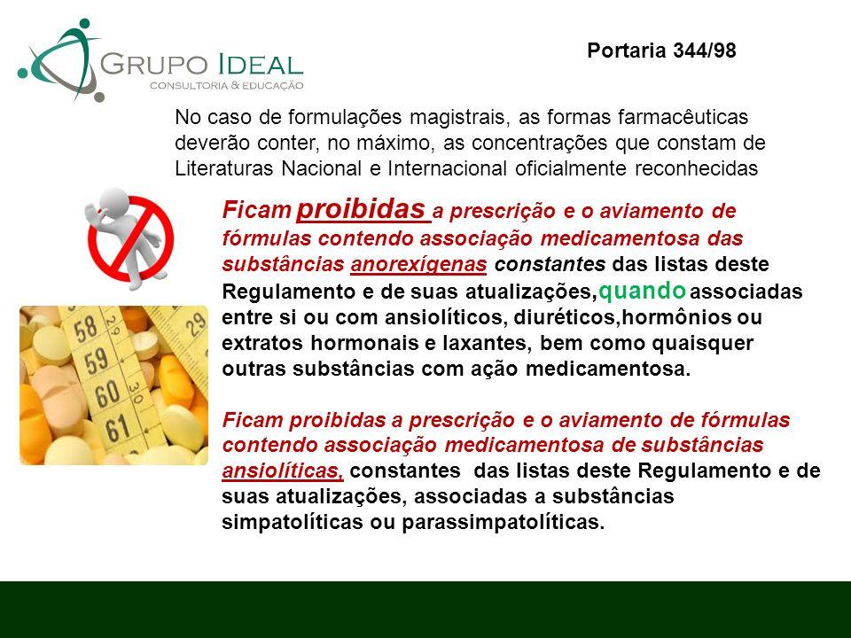 Ficam proibidas a prescrição e o aviamento de fórmulas contendo associação medicamentosa das substâncias anorexígenas constantes das listas deste Regu