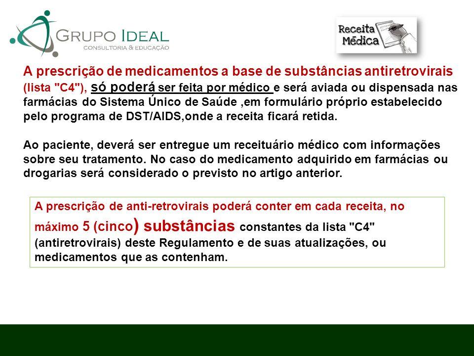A prescrição de medicamentos a base de substâncias antiretrovirais (lista