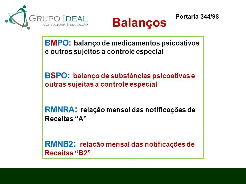 Balanços BMPO: balanço de medicamentos psicoativos e outros sujeitos a controle especial BSPO: balanço de substâncias psicoativas e outras sujeitas a
