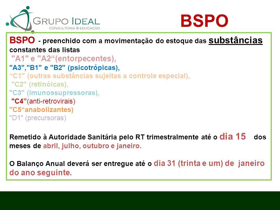 BSPO - preenchido com a movimentação do estoque das substâncias constantes das listas