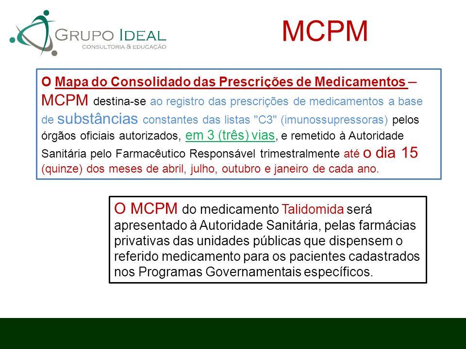 O Mapa do Consolidado das Prescrições de Medicamentos – MCPM destina-se ao registro das prescrições de medicamentos a base de substâncias constantes d