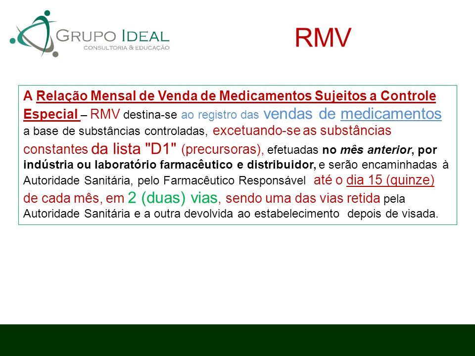 A Relação Mensal de Venda de Medicamentos Sujeitos a Controle Especial – RMV destina-se ao registro das vendas de medicamentos a base de substâncias c
