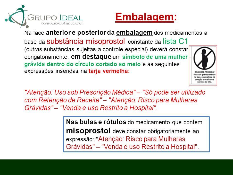 Na face anterior e posterior da embalagem dos medicamentos a base da substância misoprostol constante da lista C1 (outras substâncias sujeitas a contr