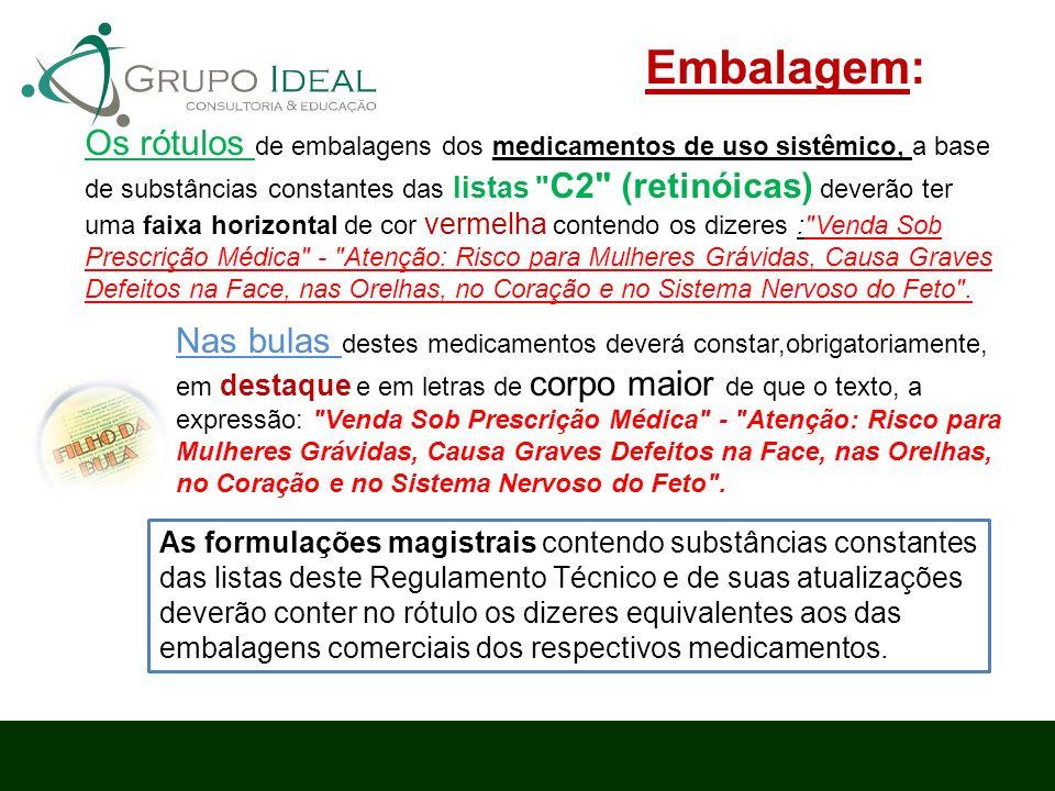 Os rótulos de embalagens dos medicamentos de uso sistêmico, a base de substâncias constantes das listas