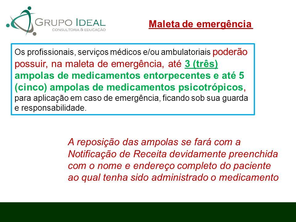 Os profissionais, serviços médicos e/ou ambulatoriais poderão possuir, na maleta de emergência, até 3 (três) ampolas de medicamentos entorpecentes e a