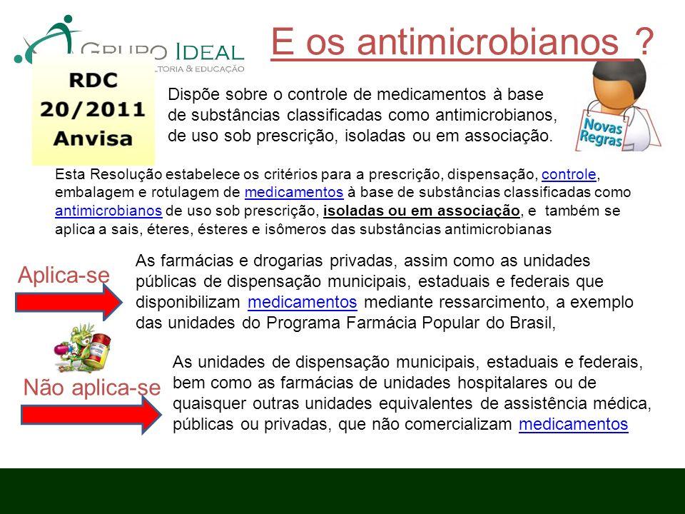 E os antimicrobianos ? Dispõe sobre o controle de medicamentos à base de substâncias classificadas como antimicrobianos, de uso sob prescrição, isolad