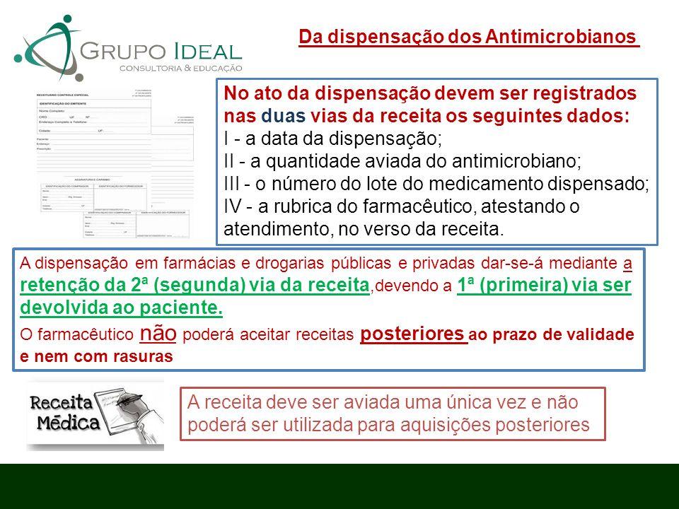 No ato da dispensação devem ser registrados nas duas vias da receita os seguintes dados: I - a data da dispensação; II - a quantidade aviada do antimi