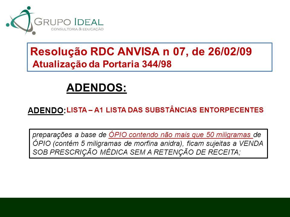 Resolução RDC ANVISA n 07, de 26/02/09 Atualização da Portaria 344/98 ADENDOS: preparações a base de ÓPIO contendo não mais que 50 miligramas de ÓPIO