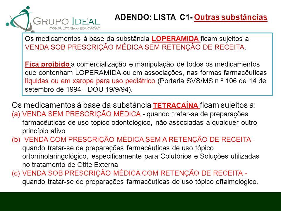 Os medicamentos à base da substância TETRACAÍNA ficam sujeitos a: (a)VENDA SEM PRESCRIÇÃO MÉDICA - quando tratar-se de preparações farmacêuticas de us