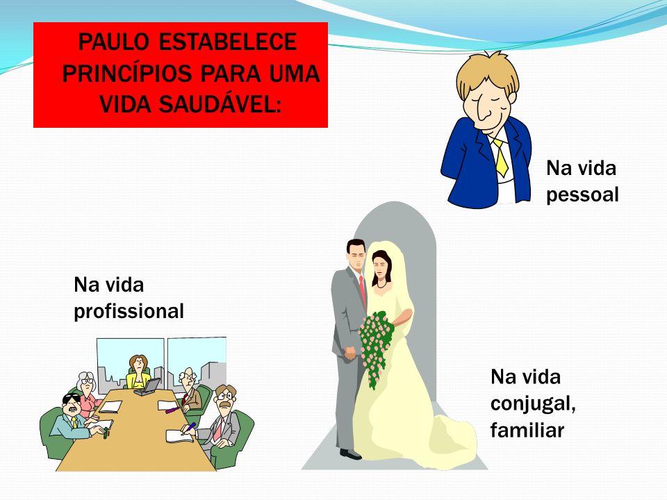 PAULO ESTABELECE PRINCÍPIOS PARA UMA VIDA SAUDÁVEL: Na vida pessoal Na vida conjugal, familiar Na vida profissional