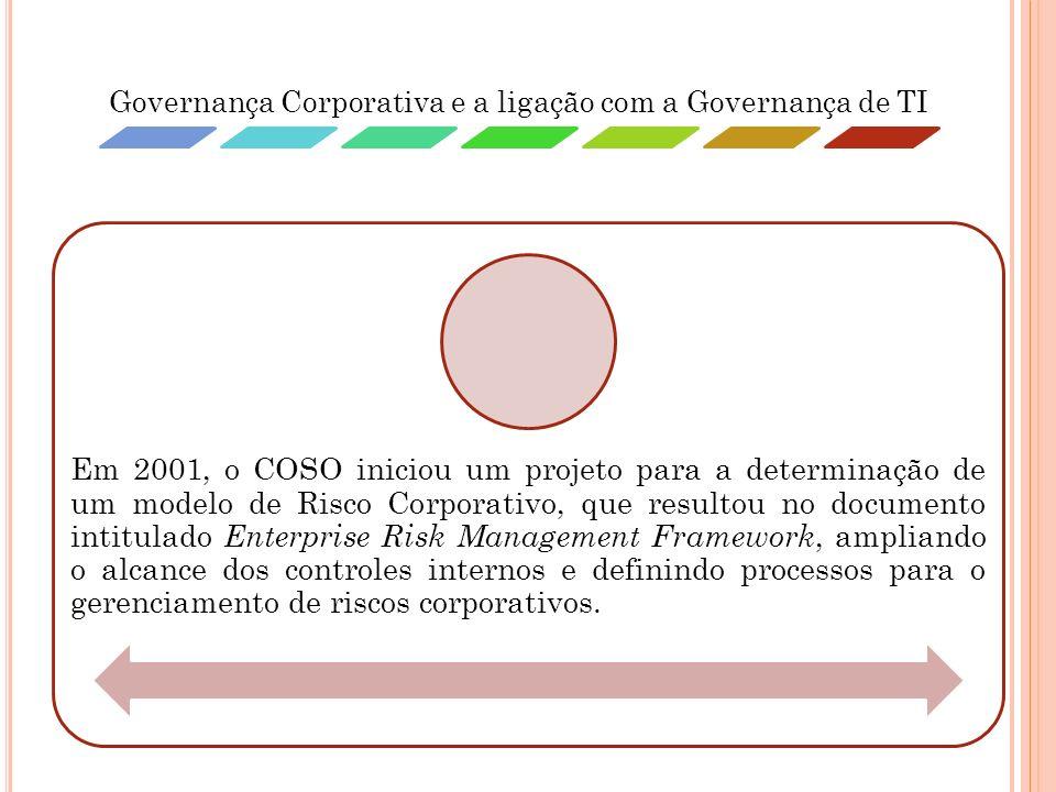 Governança Corporativa e a ligação com a Governança de TI Em 2001, o COSO iniciou um projeto para a determinação de um modelo de Risco Corporativo, qu
