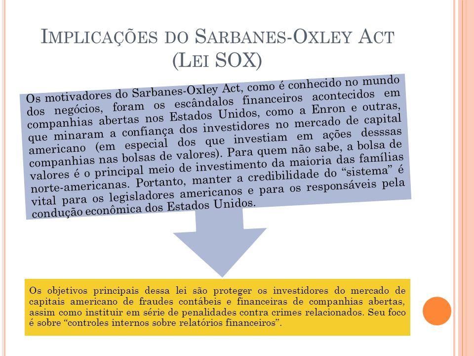 I MPLICAÇÕES DO S ARBANES -O XLEY A CT (L EI SOX) Os objetivos principais dessa lei são proteger os investidores do mercado de capitais americano de f