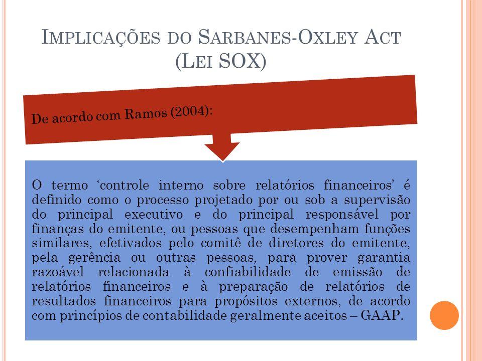 I MPLICAÇÕES DO S ARBANES -O XLEY A CT (L EI SOX) O termo controle interno sobre relatórios financeiros é definido como o processo projetado por ou so