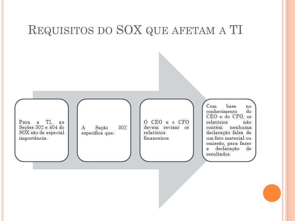 R EQUISITOS DO SOX QUE AFETAM A TI Para a TI, as Seções 302 e 404 do SOX são de especial importância. A Seção 302 especifica que: O CEO e o CFO devem