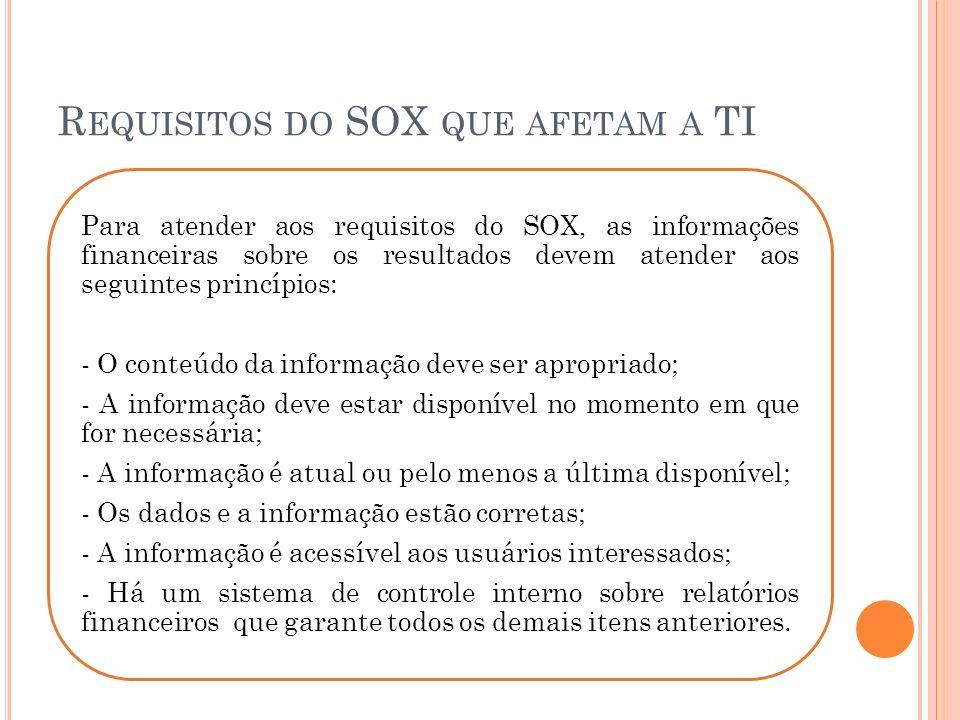 Para atender aos requisitos do SOX, as informações financeiras sobre os resultados devem atender aos seguintes princípios: - O conteúdo da informação