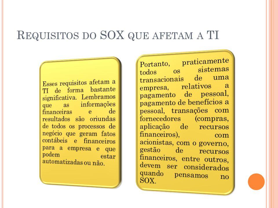 R EQUISITOS DO SOX QUE AFETAM A TI