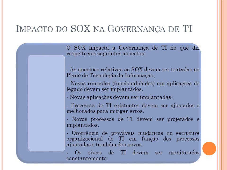 I MPACTO DO SOX NA G OVERNANÇA DE TI O SOX impacta a Governança de TI no que diz respeito aos seguintes aspectos: - As questões relativas ao SOX devem
