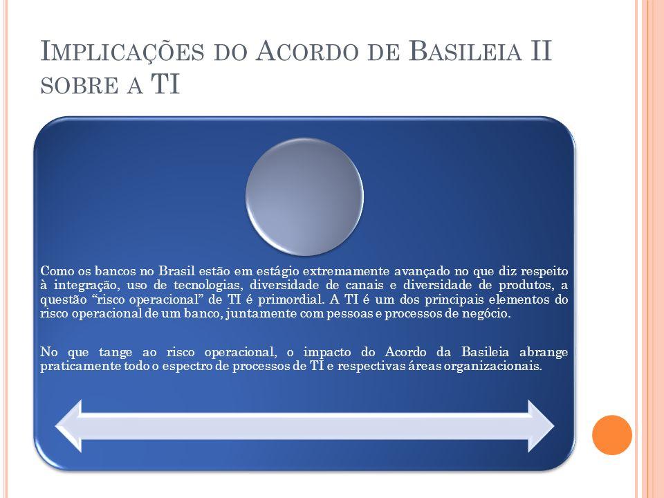 I MPLICAÇÕES DO A CORDO DE B ASILEIA II SOBRE A TI Como os bancos no Brasil estão em estágio extremamente avançado no que diz respeito à integração, u