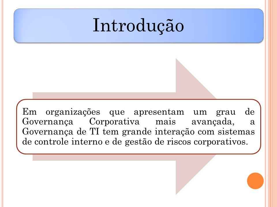 Introdução Em organizações que apresentam um grau de Governança Corporativa mais avançada, a Governança de TI tem grande interação com sistemas de con