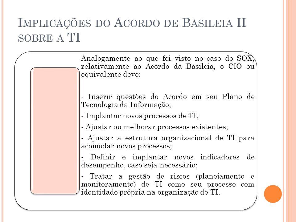 I MPLICAÇÕES DO A CORDO DE B ASILEIA II SOBRE A TI Analogamente ao que foi visto no caso do SOX, relativamente ao Acordo da Basileia, o CIO ou equival